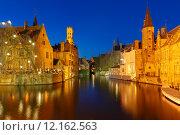 Купить «Night Cityscape with a tower Belfort from Rozenhoedkaai in Bruge», фото № 12162563, снято 24 января 2019 г. (c) PantherMedia / Фотобанк Лори