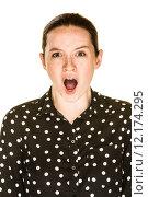 Купить «Shocked Young Woman», фото № 12174295, снято 20 августа 2018 г. (c) PantherMedia / Фотобанк Лори