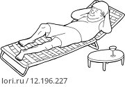 Купить «Outline of Sleeping Man on Chair», иллюстрация № 12196227 (c) PantherMedia / Фотобанк Лори
