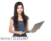 Купить «Woman use of laptop», фото № 12212667, снято 26 апреля 2019 г. (c) PantherMedia / Фотобанк Лори