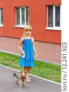 Девочка гуляет с собакой йоркширский терьер. Стоковое фото, фотограф Дегтярева Виктория / Фотобанк Лори
