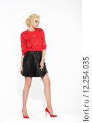 Купить «Elegant Blonde in Black Frilly Skirt and Red Blouse», фото № 12254035, снято 18 января 2018 г. (c) PantherMedia / Фотобанк Лори