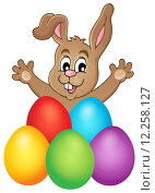 Купить «Young bunny with Easter eggs theme 1», иллюстрация № 12258127 (c) PantherMedia / Фотобанк Лори