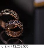 Купить «Two wedding rings in infinity sign. Love concept.», фото № 12258535, снято 18 июля 2018 г. (c) PantherMedia / Фотобанк Лори