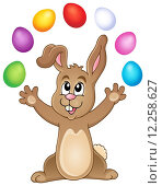 Купить «Young bunny with Easter eggs theme 3», иллюстрация № 12258627 (c) PantherMedia / Фотобанк Лори
