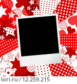 Купить «Album page for scrapbook with photo frame and love motifs background», иллюстрация № 12259215 (c) PantherMedia / Фотобанк Лори
