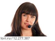 Купить «Portrait of a young woman with headset», фото № 12277387, снято 23 сентября 2018 г. (c) PantherMedia / Фотобанк Лори