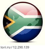 Купить «Map on flag button of Republic South Africa», иллюстрация № 12290139 (c) PantherMedia / Фотобанк Лори