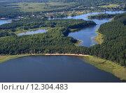 Вид на озеро Селигер и острова с высоты. Стоковое фото, фотограф Елена Коромыслова / Фотобанк Лори