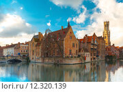 Купить «Cityscape from Rozenhoedkaai in Bruges, Belgium», фото № 12320139, снято 24 января 2019 г. (c) PantherMedia / Фотобанк Лори