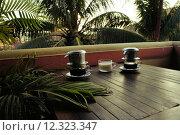 Купить «Vietnam Dripping Coffee with milk under palm trees», фото № 12323347, снято 12 июля 2020 г. (c) PantherMedia / Фотобанк Лори
