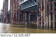 Купить «Bridge construction. Rusty metal piers.», фото № 12325087, снято 19 сентября 2018 г. (c) PantherMedia / Фотобанк Лори