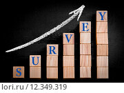 Купить «Word SURVEY on ascending arrow above bar graph», фото № 12349319, снято 21 сентября 2019 г. (c) PantherMedia / Фотобанк Лори