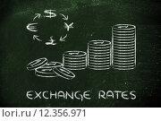 Купить «stack of coins and currency symbols, exchange rates», фото № 12356971, снято 19 ноября 2018 г. (c) PantherMedia / Фотобанк Лори