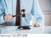 Купить «Lawyer or auctioneer raising his gavel», фото № 12357695, снято 26 марта 2019 г. (c) PantherMedia / Фотобанк Лори