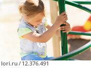 Купить «happy little girl climbing on children playground», фото № 12376491, снято 13 июня 2015 г. (c) Syda Productions / Фотобанк Лори