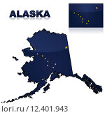 Купить «Map and flag of Alaska», иллюстрация № 12401943 (c) PantherMedia / Фотобанк Лори