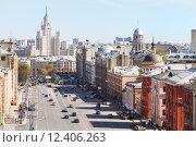 Купить «above view of Lubyanka and Novaya Square in Moscow», фото № 12406263, снято 24 сентября 2018 г. (c) PantherMedia / Фотобанк Лори