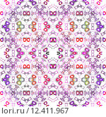 Купить «Abstract geometric background, seamless diamond pattern with hexagons multicoloured», иллюстрация № 12411967 (c) PantherMedia / Фотобанк Лори