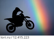Купить «Motocross - silhouette with colorful rainbow in the sky», фото № 12415223, снято 21 марта 2018 г. (c) PantherMedia / Фотобанк Лори