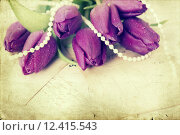 Купить «Old love letters and purple tulips», фото № 12415543, снято 25 марта 2019 г. (c) PantherMedia / Фотобанк Лори
