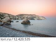 Закат над бухтой Афродиты на Кипре (2013 год). Стоковое фото, фотограф Евгений Дробжев / Фотобанк Лори