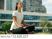 Купить «Relax Business Woman Yoga Lotus Position Outside Office Building», фото № 12428227, снято 22 апреля 2019 г. (c) PantherMedia / Фотобанк Лори