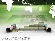 Купить «Business graph and books of register», фото № 12442219, снято 21 сентября 2019 г. (c) PantherMedia / Фотобанк Лори