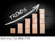 Купить «Word Trends on ascending arrow above bar graph», фото № 12464119, снято 21 сентября 2019 г. (c) PantherMedia / Фотобанк Лори
