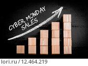 Купить «Words Cyber Monday Sales on ascending arrow above bar graph», фото № 12464219, снято 21 сентября 2019 г. (c) PantherMedia / Фотобанк Лори