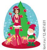 Купить «beautiful pinup girl christmas inspired», иллюстрация № 12467631 (c) PantherMedia / Фотобанк Лори