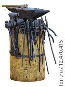 Набор инструментов кузнеца. Изолированно на белом. Стоковое фото, фотограф Борис Горбатенко / Фотобанк Лори