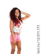 Купить «African woman in pink shorts.», фото № 12511171, снято 19 августа 2018 г. (c) PantherMedia / Фотобанк Лори