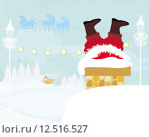 Купить «santa claus stuck chimney christmas», иллюстрация № 12516527 (c) PantherMedia / Фотобанк Лори