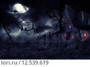Купить «Темное дерево с воронами на фоне луны и старого замка», иллюстрация № 12539619 (c) Анна Павлова / Фотобанк Лори