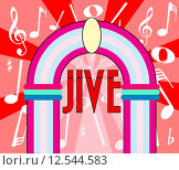 Купить «A jukebox depiction with the text jive and music notation as a background», иллюстрация № 12544583 (c) PantherMedia / Фотобанк Лори