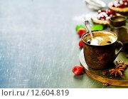 Купить «Кофе с фруктовым десертом», фото № 12604819, снято 4 марта 2015 г. (c) Наталия Кленова / Фотобанк Лори