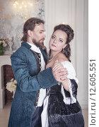 Купить «Мужчина и женщина в средневековой одежде», фото № 12605551, снято 23 августа 2015 г. (c) Darkbird77 / Фотобанк Лори