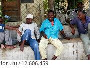 Купить «Стоун-Таун, Занзибар, Танзания группа африканских мужчин отдыхает в тени здания», фото № 12606459, снято 20 февраля 2008 г. (c) Владимир Григорьев / Фотобанк Лори