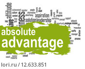 Купить «Absolute advantage word cloud with green banner», фото № 12633851, снято 20 октября 2018 г. (c) PantherMedia / Фотобанк Лори