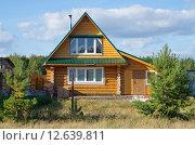 Купить «Деревянный дом из бревна», эксклюзивное фото № 12639811, снято 27 августа 2015 г. (c) Елена Коромыслова / Фотобанк Лори