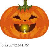 Тыква для Хэлоуина с горящей свечой. Стоковая иллюстрация, иллюстратор Буркина Светлана / Фотобанк Лори