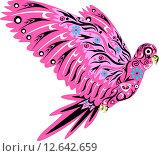 Розовый попугай ара с узорами. Стоковая иллюстрация, иллюстратор Буркина Светлана / Фотобанк Лори