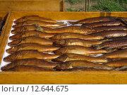 Купить «Копченая рыба на прилавке», эксклюзивное фото № 12644675, снято 26 августа 2015 г. (c) Елена Коромыслова / Фотобанк Лори