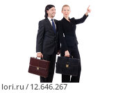 Купить «Businessman and businesswoman with briefcases isolated on white», фото № 12646267, снято 19 октября 2013 г. (c) Elnur / Фотобанк Лори