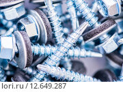 Купить «Many screws arranged as background», фото № 12649287, снято 20 июля 2015 г. (c) Elnur / Фотобанк Лори