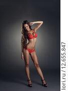 Купить «Соблазнительная девушка в красном нижнем белье», фото № 12655847, снято 2 сентября 2014 г. (c) Гурьянов Андрей / Фотобанк Лори