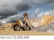 Купить «БелАЗ разгружает руду», эксклюзивное фото № 12655943, снято 9 сентября 2015 г. (c) Валерий Акулич / Фотобанк Лори
