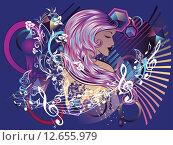 Музыка и девушка, музыкальная иллюстрация. Стоковая иллюстрация, иллюстратор Анна Павлова / Фотобанк Лори