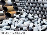 Купить «Трубы и отводы стальные», фото № 12663043, снято 8 февраля 2014 г. (c) Сергеев Валерий / Фотобанк Лори